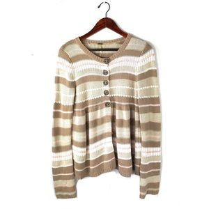Free people cardigan knit pleated striped sweater